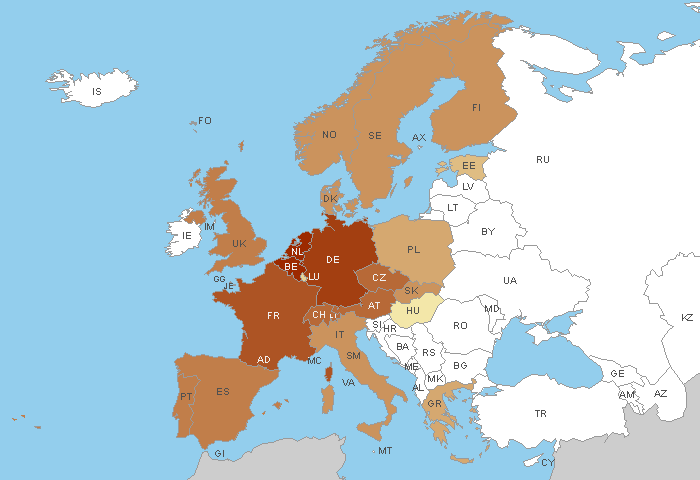 European Countries cached in